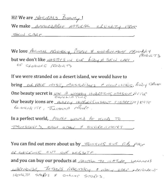 Naturals Questionnaire